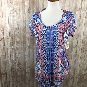 Lucky Brand NWT Blue Red Boho Print Tee Shirt